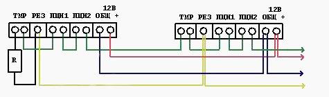 Схема подключения с тампером Шорох