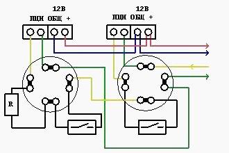 Схема подключения с УК2П и герконом